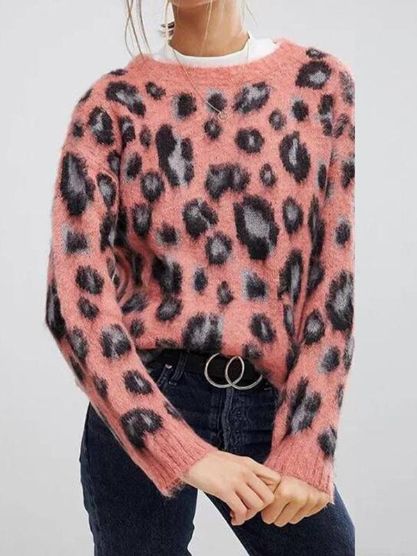 Pink Mohair Leopard Sweater
