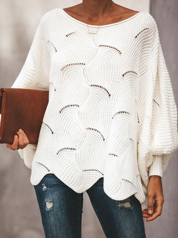 Solid Knitted Hollow Out Sweater
