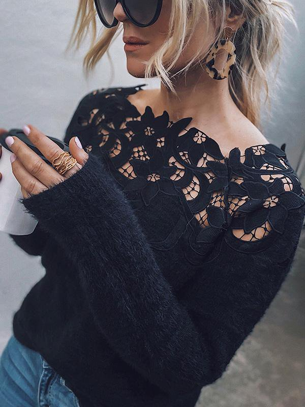 Applique Neckline Off The Shoulder Sweater