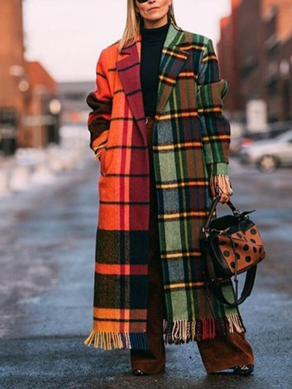 Contrast Plaid Tassel Long Woolen Coat