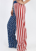 Star National Flag Print  Wide Leg Pants
