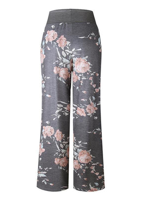 Casual Sport Printed Wide Leg Pants-Bottoms-Amazingbe.com