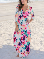 Deep V-Neck Floral Printed Maxi Dress-Maxi Dress-Amazingbe.com