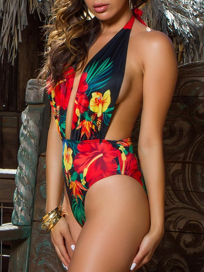 Deep V-neck Floral Printed Backless Swimwear