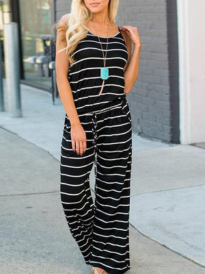 Stripe Print Casual Jumpsuits&Rompers&Rompers