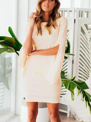 Solid Color O-Neck Petal Sleeves Slim Mini Dress