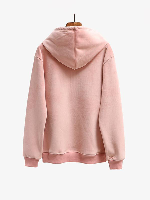 Hooded Double-faced Velvet Embroidered Loose Sweater