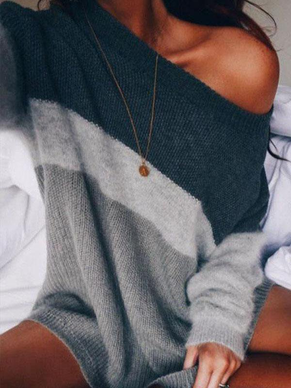 Off-the-shoulder knit striped lazy pullover