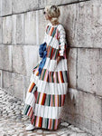 Round Neck Half Sleeve Color Block Casual Maxi Dress Vintage Dress