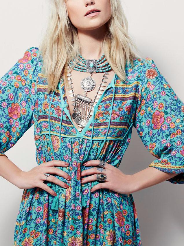 Bohemian long sleeve tassel irregular print sexy dress