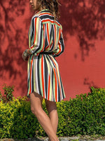 Striped Long Sleeve Blouse Dress-Amazingbe.com-amazingbe.com