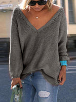 V-neck Solid Loose Sweater-Hoodies & Sweatshirts-Amazingbe.com