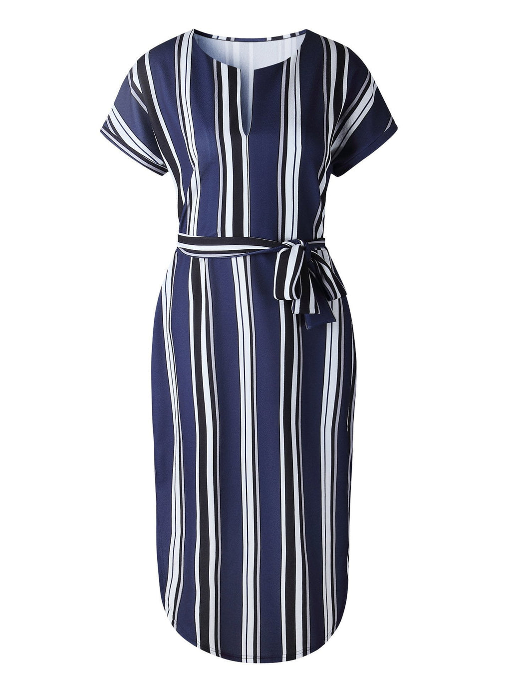V-Neck Stripe Midi Dress