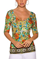 V-Neck Printed Mid Sleeve Top-Blouse-Amazingbe.com