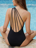 Solid Color One-Shoulder Backless Swimwear