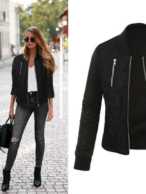 Basic Coat Casual Long Sleeve Bomber Jacket-Cardigans & Coats-Amazingbe.com