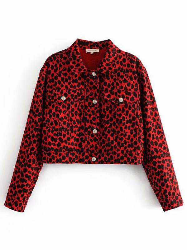 Fashion Leopard Print Denim Jacket
