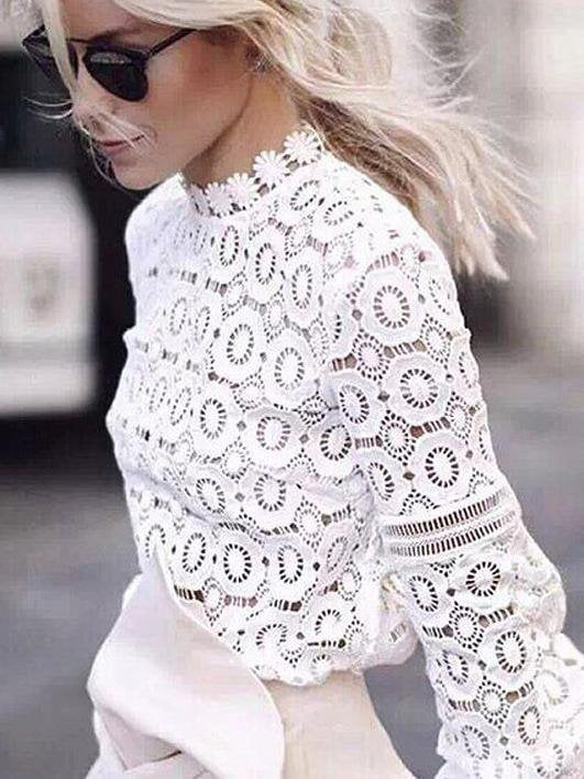 Openwork Lace Top Lantern Sleeve Fashion Bottoming Shirt