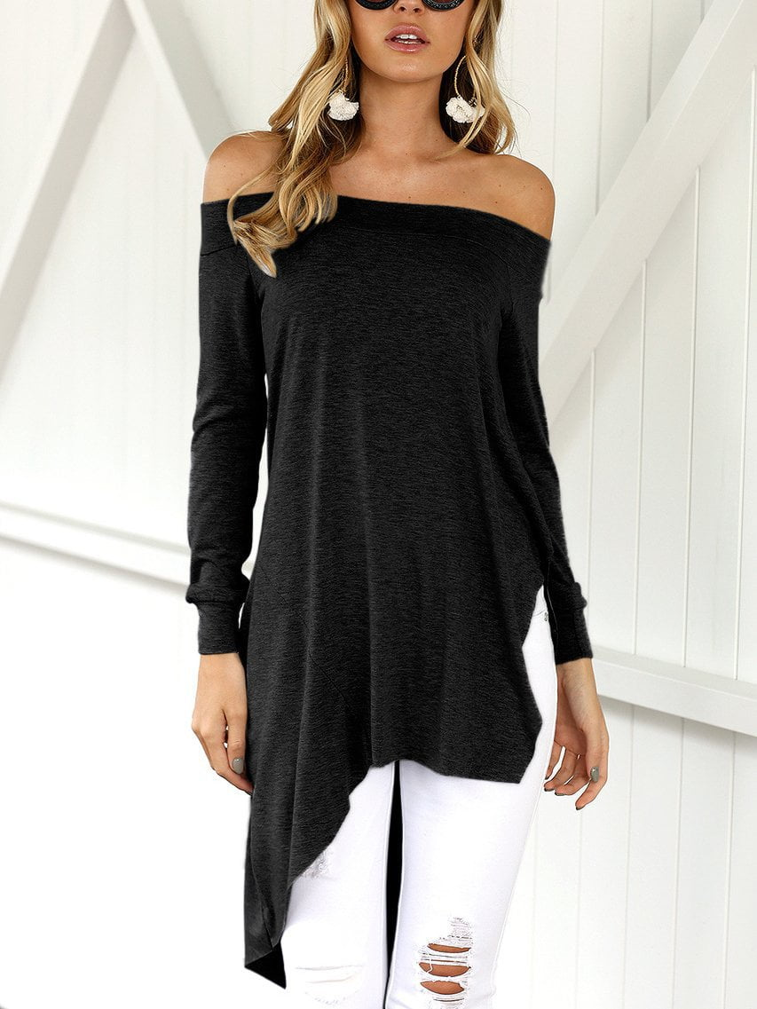 Off-the-shoulder Loose Long Sleeve Irregular T-shirt