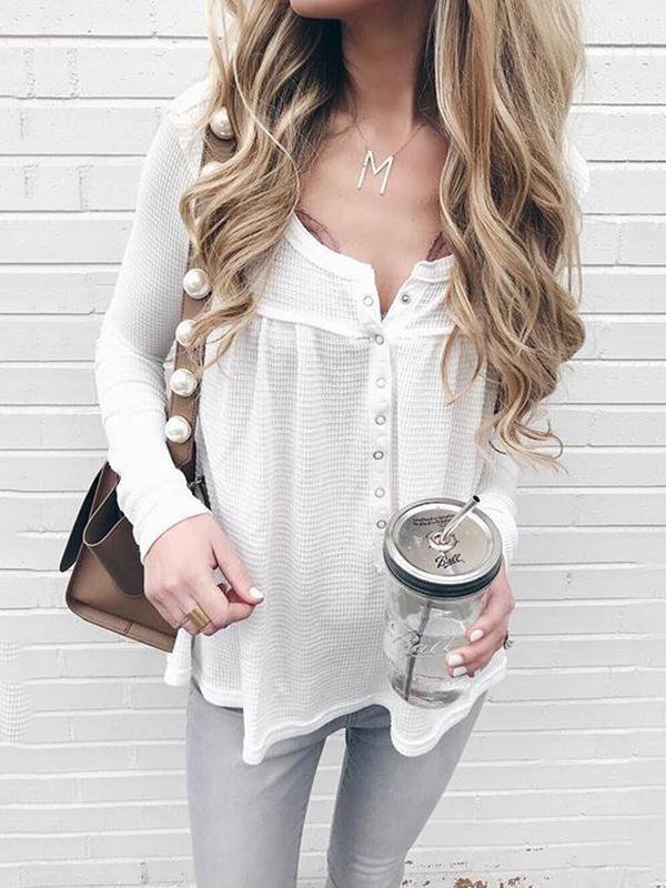 Solid Color V-Neck Knit Top