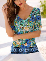V-Neck Printed Mid Sleeve Top