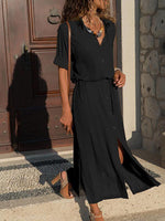 Autumn Solid Long Dress With Button-Amazingbe.com-amazingbe.com