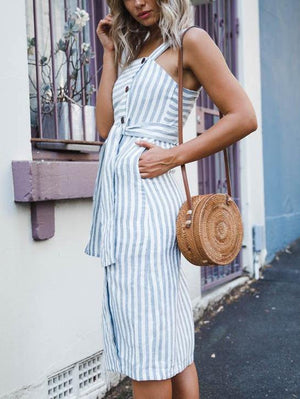 Stripe Tie Button Maxi Dress