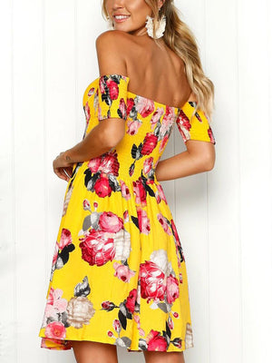 Off-shoulder Printed Dress