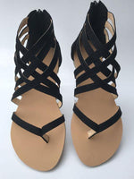 Summer Cross-Tied Zipper Flat Sandals-Shoes-Amazingbe.com