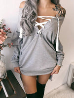 Solid Color Tie Off Shlouder T-shirt Dress-Hoodies & Sweatshirts-Amazingbe.com