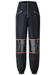 Fashion Mesh Zipper Stitching Sports Trousers