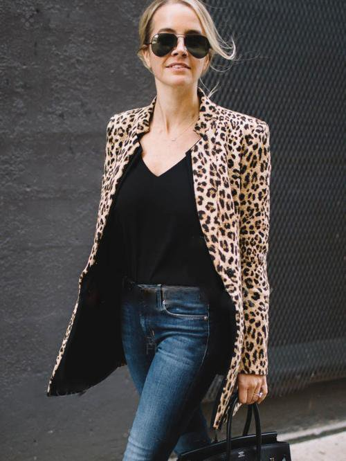 Long Sleeve Leopard Suit Jacket