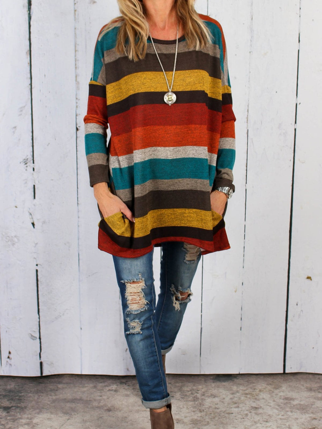 Round Neck Long Sleeve Colorful Striped Tee Shirt