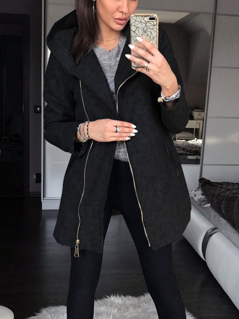 Side Zipper Plus Velvet Hooded Jacket