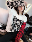 Mohair Color Matching Leopard Print Sweater