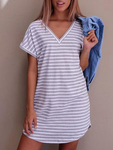 V-neck Striped Shirt Thin Mini Dress