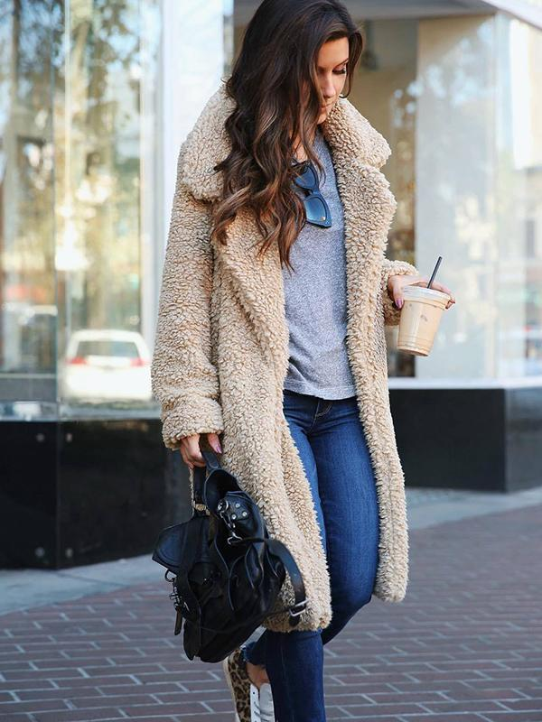 Solid Color Pocket Long Coat