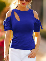 Off The Shoulder Drawstring Sleeve O-Neck T-shirts