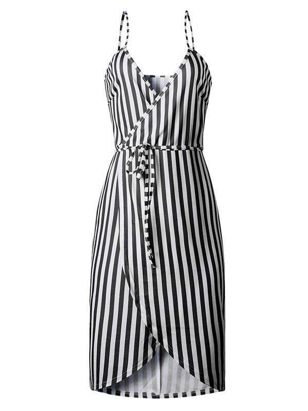 Striped Wrap Spaghetti Strap Casual Dress-Mini Dress-Amazingbe.com
