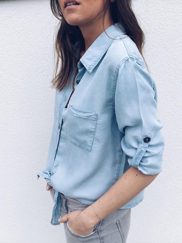 Solid Long Sleeve Casual Blouse-Blouse-Amazingbe.com