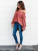 Straight Shoulder Striped Loose Cotton Top