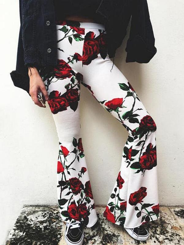 Printed High Waist Flared Pants