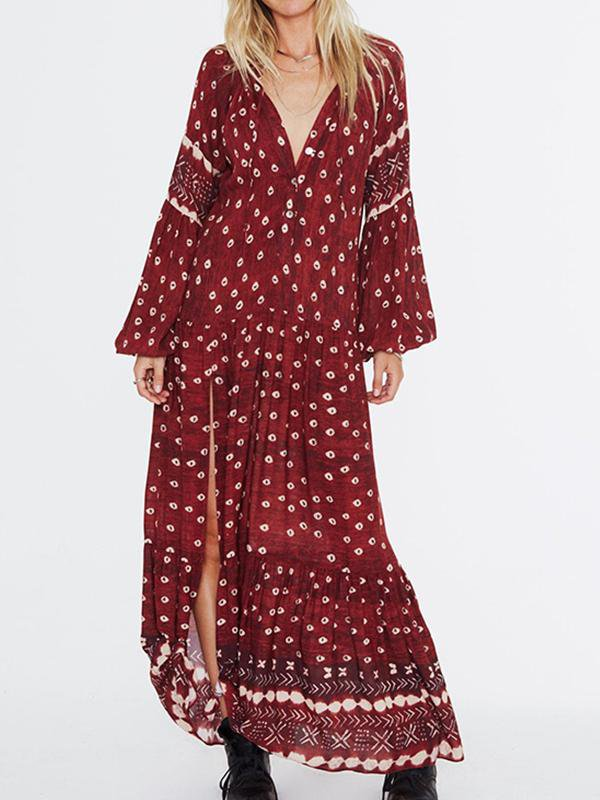 Printed Lantern Sleeve Bohemian Dress