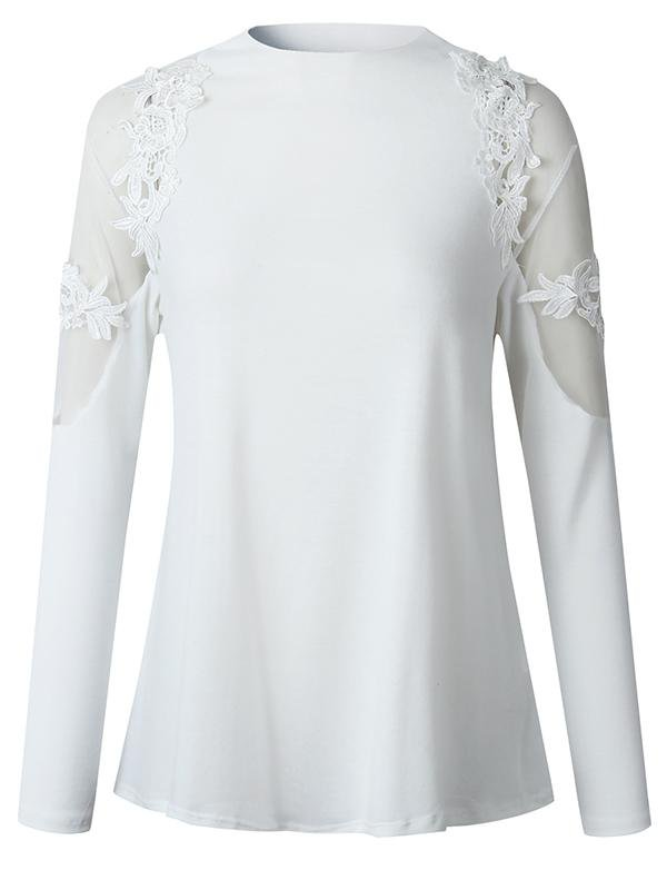 Sexy Mesh Lace Flower Long-sleeved Top