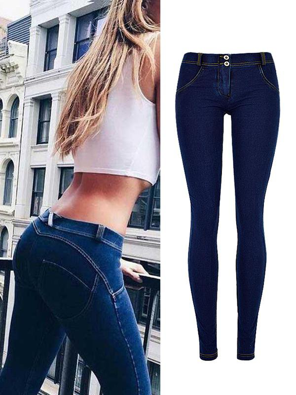Peach Hips Super Elastic Comfortable Low Waist Jeans