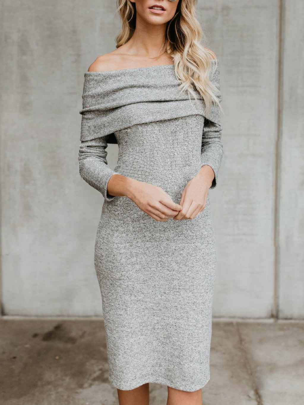 One-shoulder Knit Dress