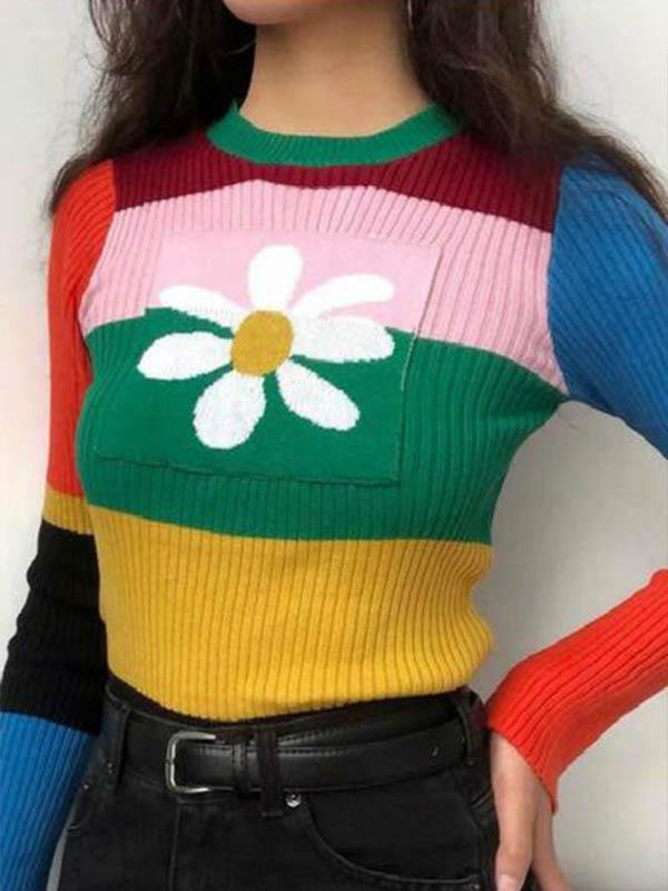 Retro Contrast Color Cute Daisy Sweater