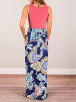 Printed High Waist Long Dress-Maxi Dress-Amazingbe.com