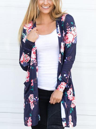 Floral Printed  Long Sleeve Cardigan