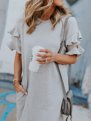 Off-The-Shoulder Ruffled Short-Sleeved Dress